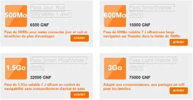 Orange Guinée forfaits internet