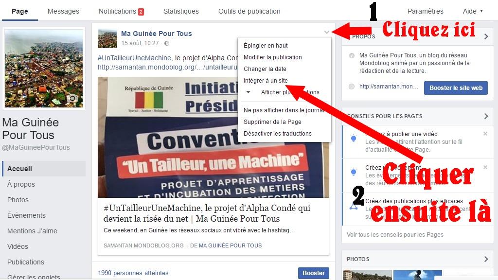 Capure facebook Ma Guinée Pour Tous